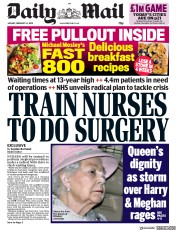 Daily Mail (UK) Newspaper Front Page for 24 February 2020