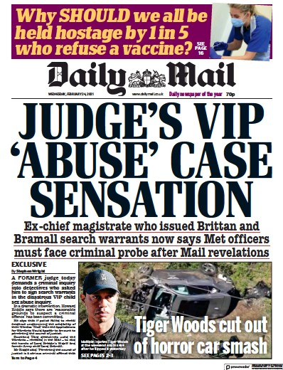 Daily Mail Newspaper Front Page (UK) for 24 February 2021