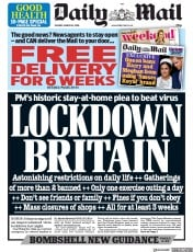 Daily Mail (UK) Newspaper Front Page for 24 March 2020