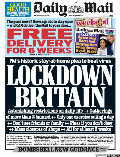 Daily Mail Newspaper Front Page (UK) for 24 March 2020