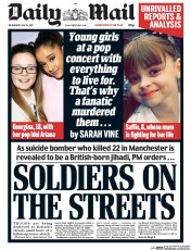 Daily Mail (UK) Newspaper Front Page for 24 May 2017