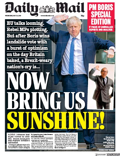 Daily Mail Newspaper Front Page (UK) for 24 July 2019