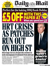 Daily Mail (UK) Newspaper Front Page for 24 August 2019