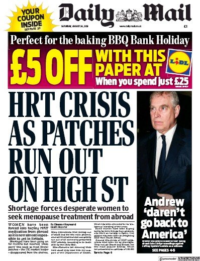 Daily Mail Newspaper Front Page (UK) for 24 August 2019