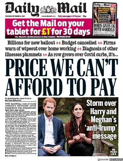 Daily Mail Newspaper Front Page (UK) for 24 September 2020
