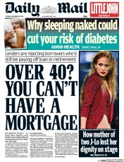 Daily Mail (UK) Newspaper Front Page for 25 November 2014