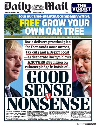 Daily Mail Newspaper Front Page (UK) for 25 November 2019