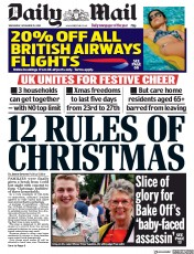 Daily Mail front page for 25 November 2020