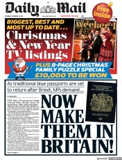 Daily Mail (UK) Newspaper Front Page for 25 December 2017