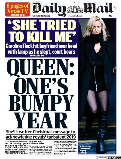 Daily Mail Newspaper Front Page (UK) for 25 December 2019
