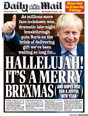 Daily Mail (UK) Newspaper Front Page for 25 December 2020