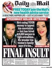 Daily Mail () Newspaper Front Page for 25 January 2019