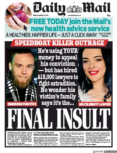 Daily Mail Newspaper Front Page (UK) for 25 January 2019