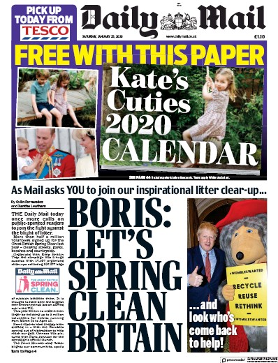 Daily Mail Newspaper Front Page (UK) for 25 January 2020