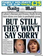 Daily Mail () Newspaper Front Page for 25 February 2014