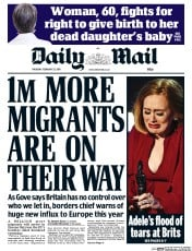 Daily Mail (UK) Newspaper Front Page for 25 February 2016