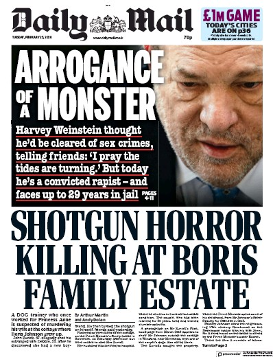 Daily Mail Newspaper Front Page (UK) for 25 February 2020