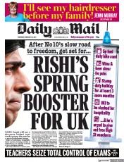 Daily Mail front page for 25 February 2021