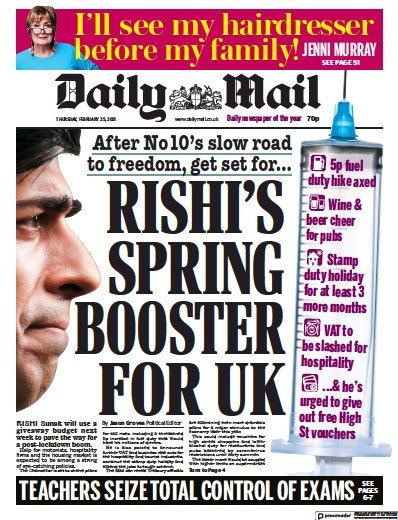 Daily Mail Newspaper Front Page (UK) for 25 February 2021