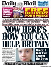 Daily Mail front page for 25 March 2020