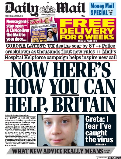 Daily Mail Newspaper Front Page (UK) for 25 March 2020
