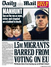 Daily Mail (UK) Newspaper Front Page for 25 May 2015