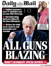 Daily Mail (UK) Newspaper Front Page for 25 July 2019