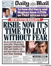 Daily Mail front page for 25 September 2020