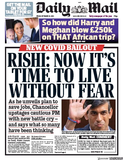 Daily Mail Newspaper Front Page (UK) for 25 September 2020