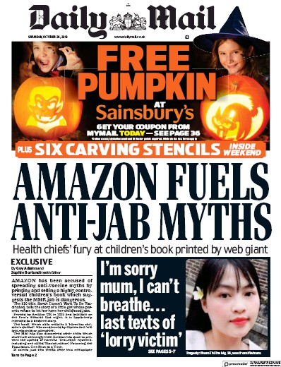 Daily Mail Newspaper Front Page (UK) for 26 October 2019