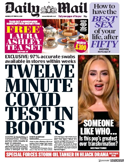 Daily Mail Newspaper Front Page (UK) for 26 October 2020