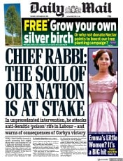 Daily Mail (UK) Newspaper Front Page for 26 November 2019