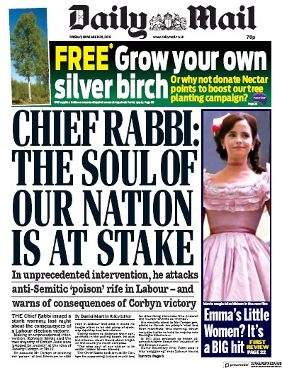 Daily Mail Newspaper Front Page (UK) for 26 November 2019