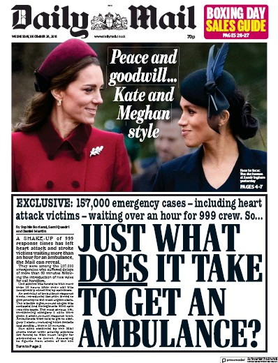 Daily Mail Newspaper Front Page (UK) for 26 December 2018
