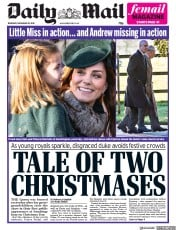 Daily Mail (UK) Newspaper Front Page for 26 December 2019