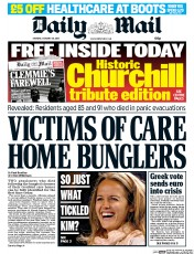 Daily Mail (UK) Newspaper Front Page for 26 January 2015