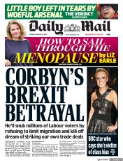 Daily Mail (UK) Newspaper Front Page for 26 February 2018