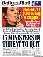 Daily Mail () Newspaper Front Page for 26 February 2019