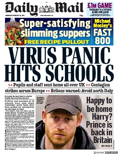 Daily Mail Newspaper Front Page (UK) for 26 February 2020