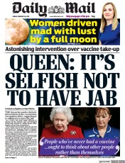 Daily Mail front page for 26 February 2021