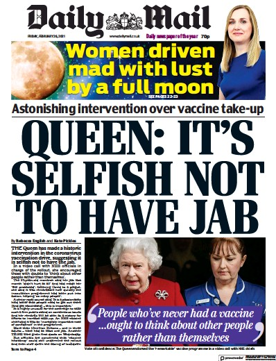 Daily Mail Newspaper Front Page (UK) for 26 February 2021