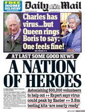 Daily Mail front page for 26 March 2020