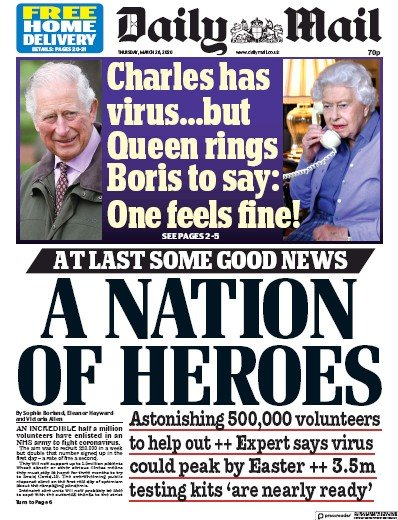 Daily Mail Newspaper Front Page (UK) for 26 March 2020