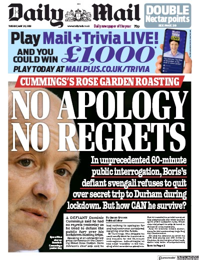 Daily Mail Newspaper Front Page (UK) for 26 May 2020