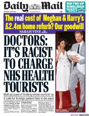 Daily Mail (UK) Newspaper Front Page for 26 June 2019