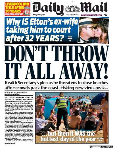 Daily Mail Newspaper Front Page (UK) for 26 June 2020