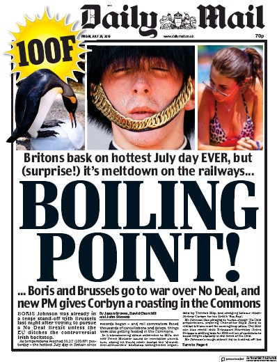 Daily Mail Newspaper Front Page (UK) for 26 July 2019