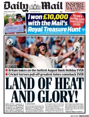 Daily Mail () Newspaper Front Page for 26 August 2019