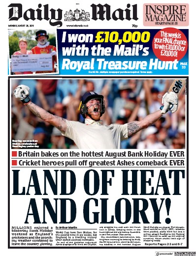Daily Mail Newspaper Front Page (UK) for 26 August 2019