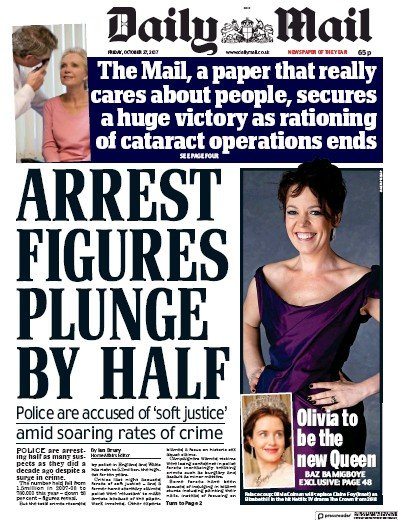Daily Mail () Newspaper Front Page for 27 October 2017